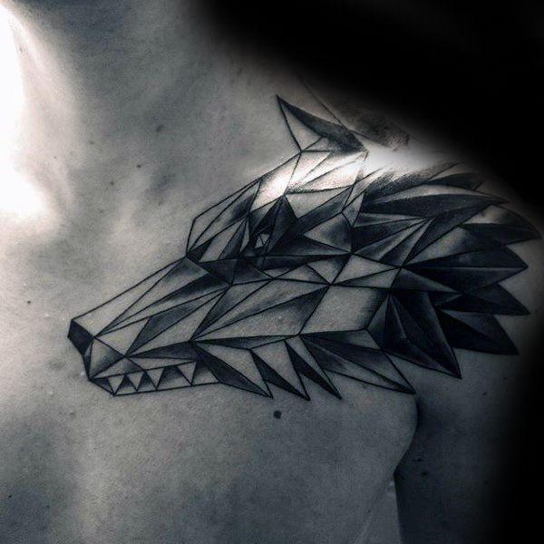 90 geométrica del lobo diseños de tatuajes para los hombres - Ideas