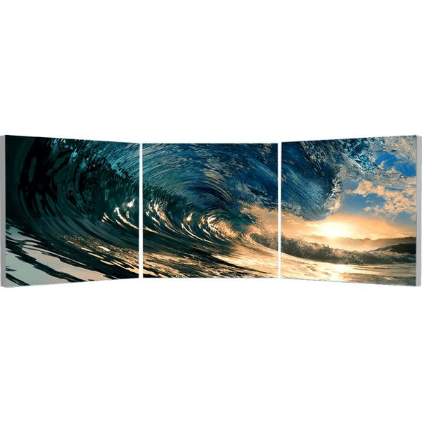 Elementem Photography The Wave Triptych Wall Art ($220) ❤ liked on Polyvore featuring home, home decor, wall art, backgrounds, 3-panel, triptych wall art, photo wall art and three-panel