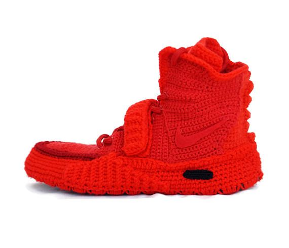 best service bcdf8 f7029 Crochet Air Yeezy 2 Red October Knitted Slippers, Air Yeezy ...