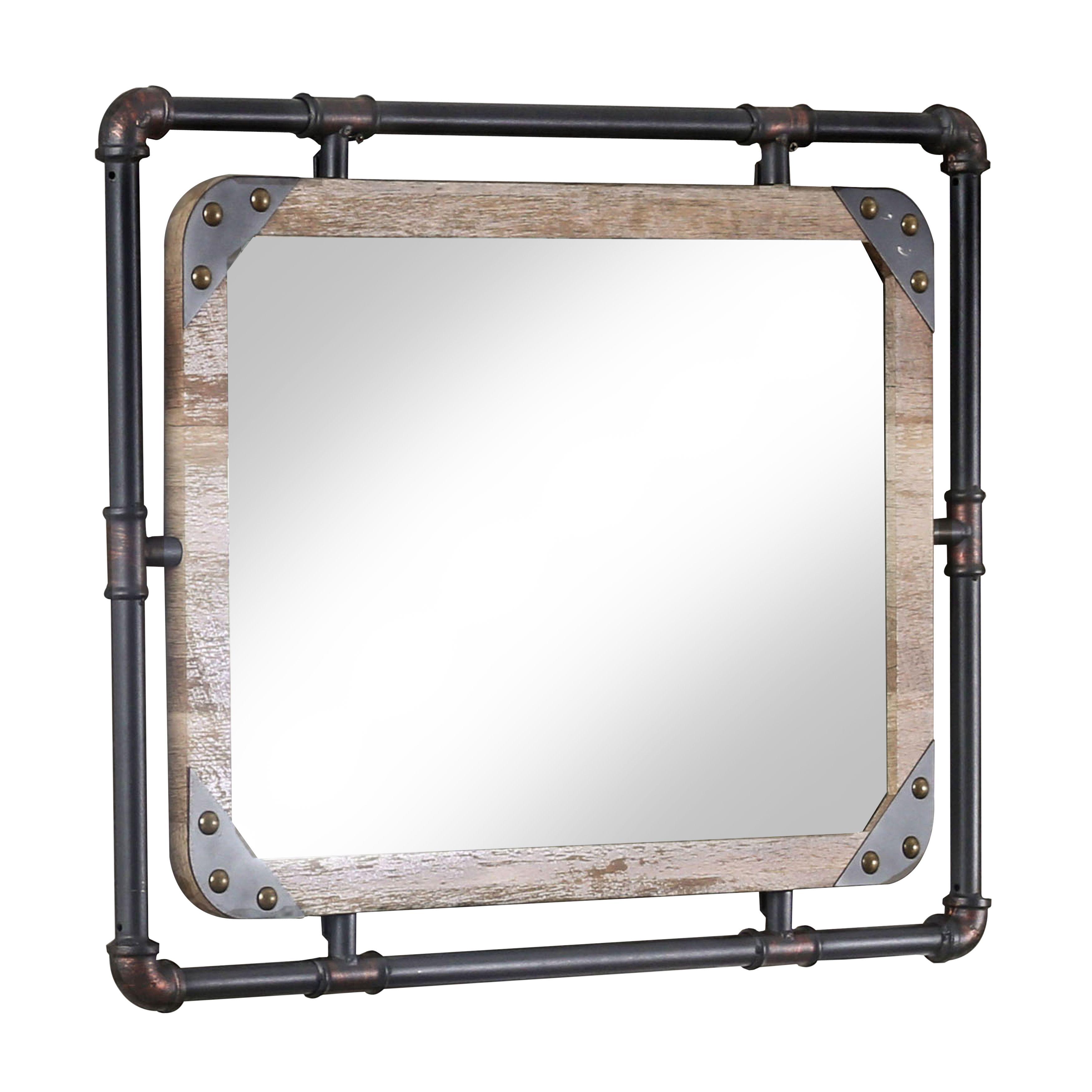 Furniture Of America Stockholm Industrial Decorative Wall Mirror 32 X24 Walmart Com In 2020 Industrial Wall Mirrors Mirror Wall Mirror Wall Bedroom