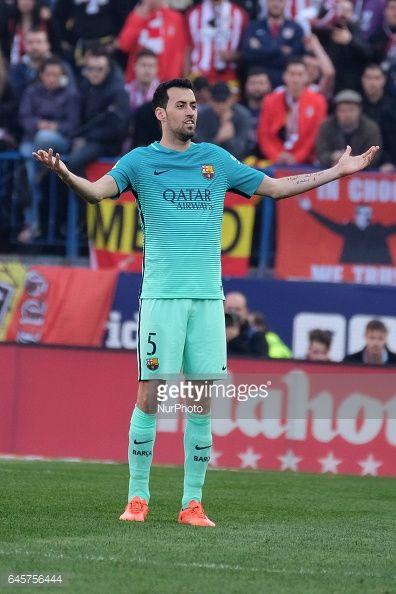 Fotografía de noticias : Sergio Busquets of FC Barcelona reacts during of...
