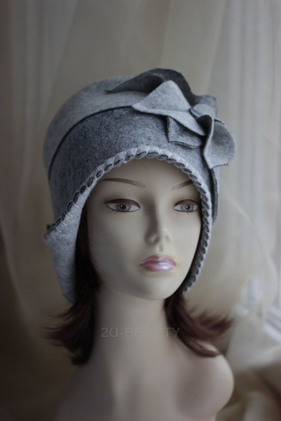 1f8e06a9832 1920s Style Cloche Cap Felted Cloche Retro Wool Hat Vintage Inspired  Headwear Gatsby Style Retro Han