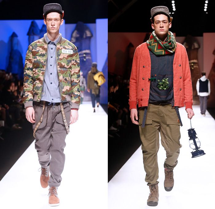 THETHING 2014-2015 Fall Autumn Winter Mens Runway Looks - The Thing Shanghai Fashion Week China - Shorts Over Leggings Outerwear Jacket Waffle Quilted Backpack Stripes Hoodie Plaid Knit Cardigan Sweater Jumper Jogging Sweatpants Scarf Hat Cap Argyle Print Motif Low Crotch Down Jacket Nautical Bib Brace Pillow Scarf Wrap Multi-Panel Wool Manskirt Kilt Paisley Duck Boots Vest Waistcoat Cargo Pockets Camouflage Suspenders