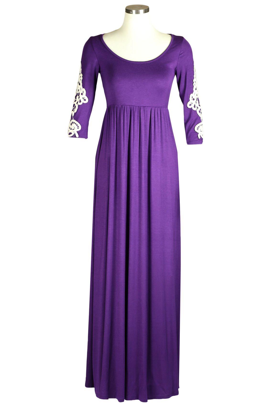 Modest Maxi Dress for Women   Crochet Sleeve Long Dress