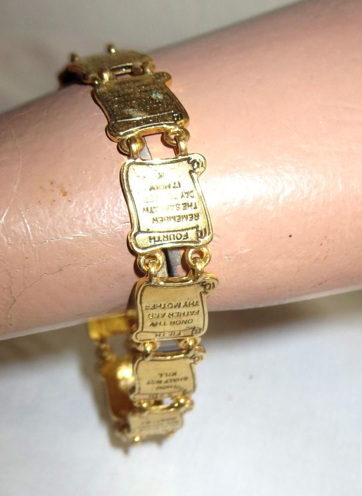 Vintage Avon Goldtone Ten Commandments Bracelet Adj 7 8