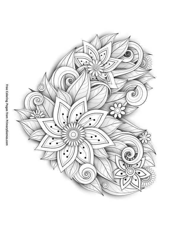 Flower Heart Coloring Page • FREE Printable eBook