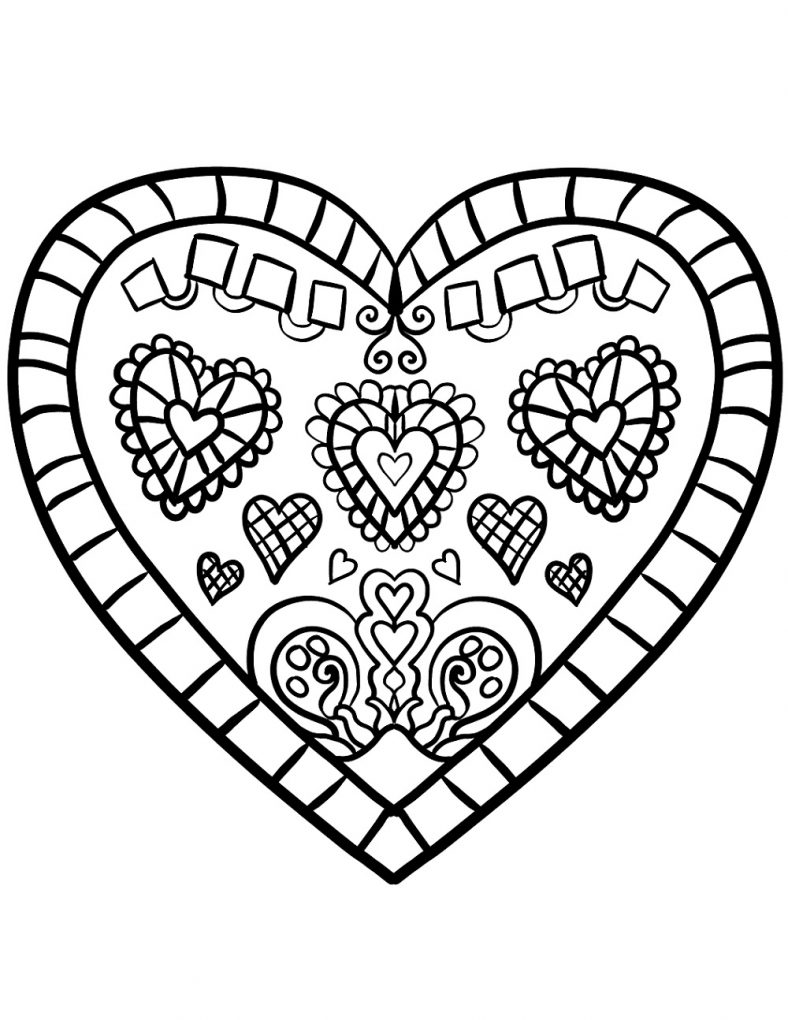 Cartoon Valentine Heart coloring page for kids, for girls