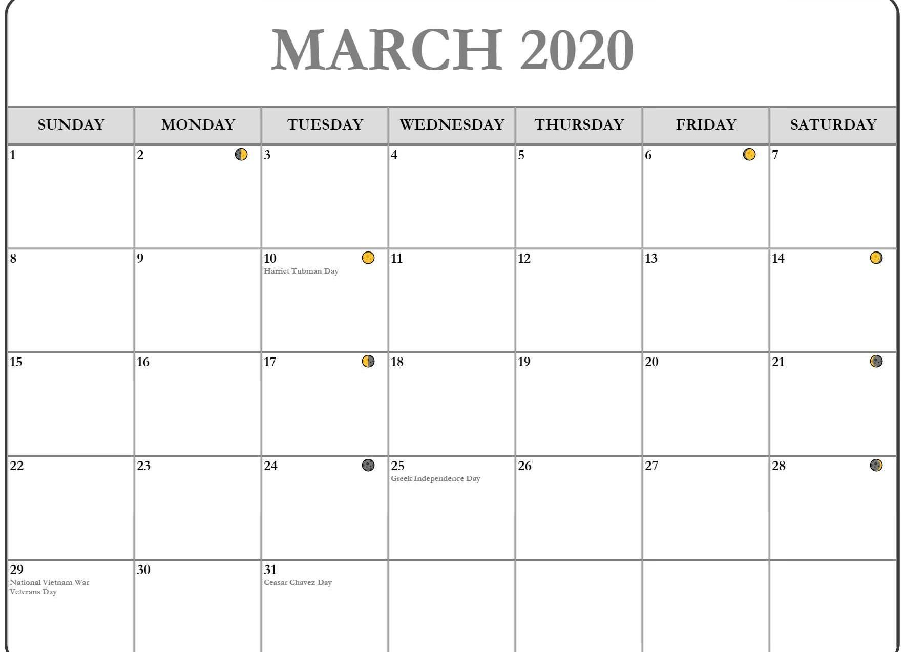 Free Fillable March Calendar Word Excel