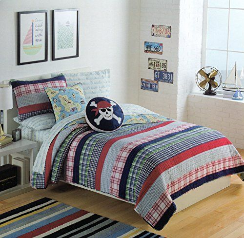Amazon.com: Toddler Bedding Cotton 2pc Twin Quilt Set Reversible Plaid  Diggers Skull Pirate Map Boys Bedding Quilted Bedspread: Home U0026 Kitchen