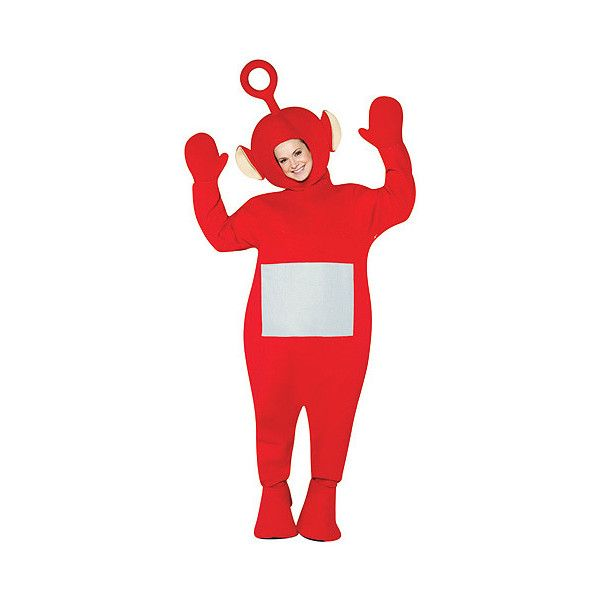 Adult Red Teletubbies Costume ($40) ❤ liked on Polyvore featuring costumes, funny adult halloween costumes, adult costumes, adult teletubby costume, funny costumes and red costumes