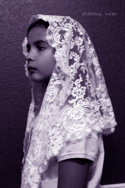 The vintage chapel mantilla veil our daughter will wear for her first communion.
