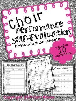 Music Performance Self Evaluation Worksheets Choir  Choir Music