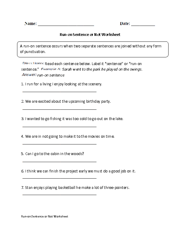 Run-on Sentence or Not Worksheet | Englishlinx.com Board ...