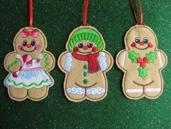 Gingerbread People Christmas Ornaments Set of 6 by alohaedie Stuff