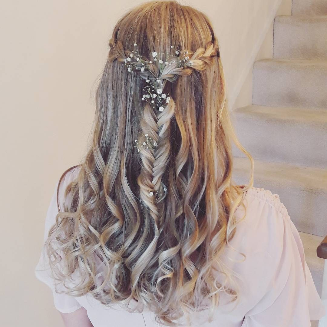 Delicate Half Up Half Down With Curls Plaits And Flowers Bridal Hair Half Up Bridesmaid Hair Plaits Flower Girl Hairstyles