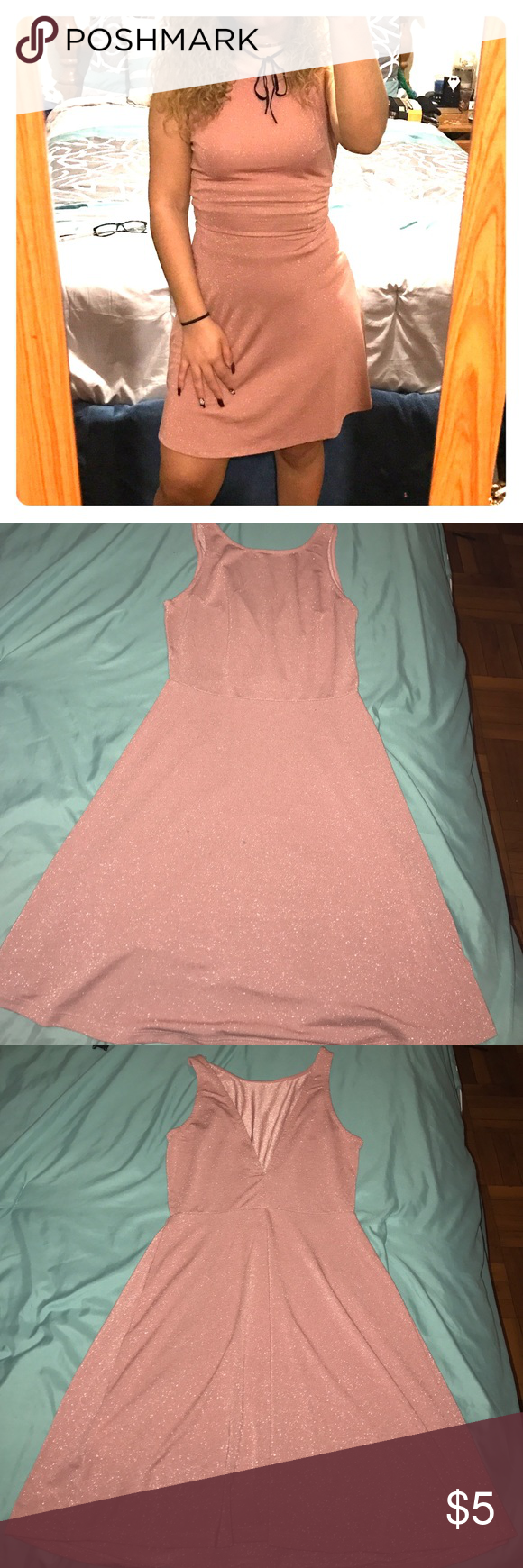 H&M rose gold glitter dress Pre-owned skater dress. V cut open back Dresses Midi
