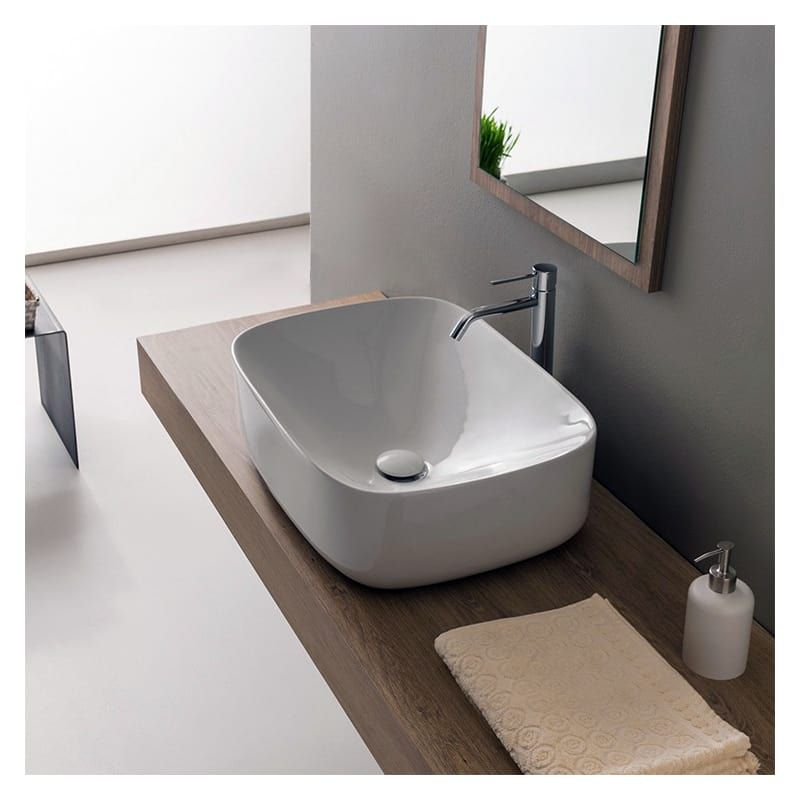 """Nameeks Scarabeo 5501-No Hole White / No Hole Scarabeo 16-1/2"""" Ceramic Bathroom Sink For Vessel Installation - Less Overflow"""
