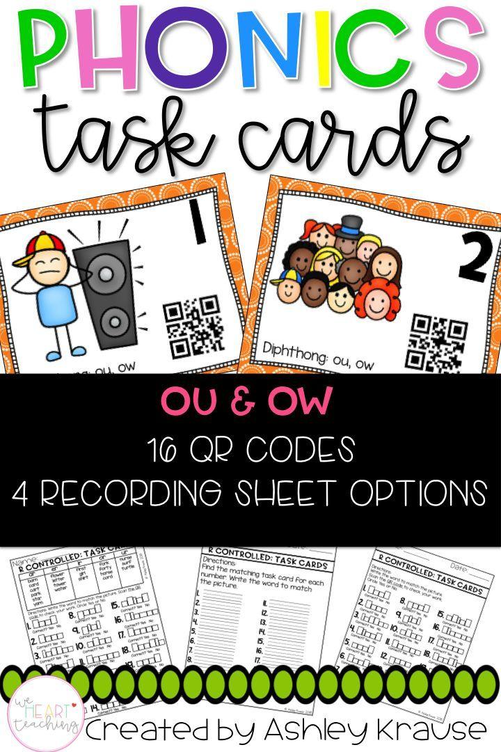 QR Code Task Cards: Diphthong ou & ow   Pinterest   Kind
