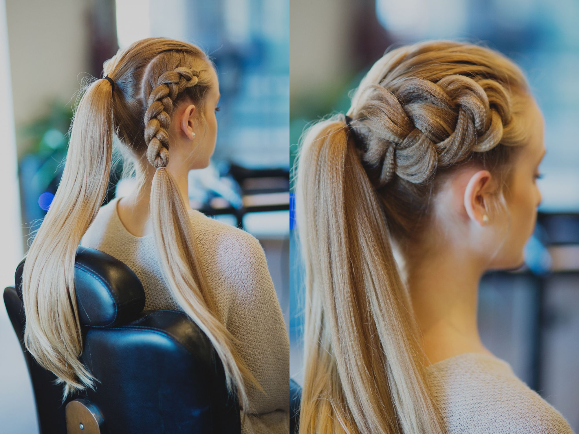 Place the hair into a ponytail then create a Dutch braid ...