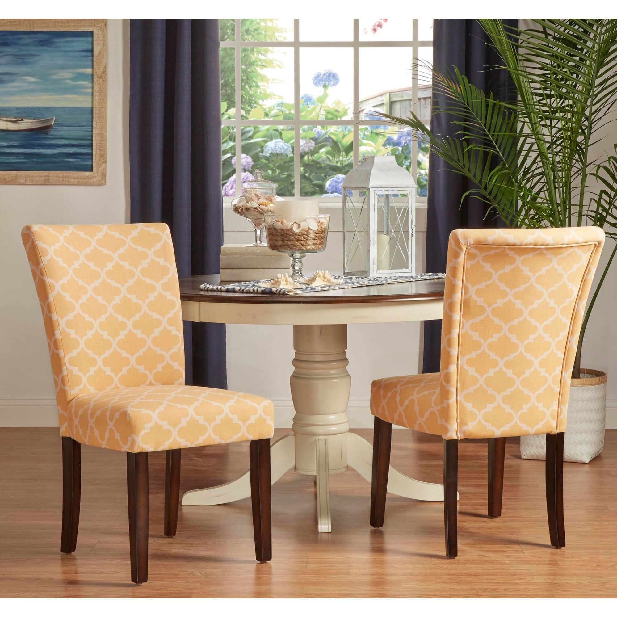 Catherine Moroccan Pattern Fabric Parsons Dining Chair (Set of 2) by  iNSPIRE Q Bold (Sky Blue (Set of 2))