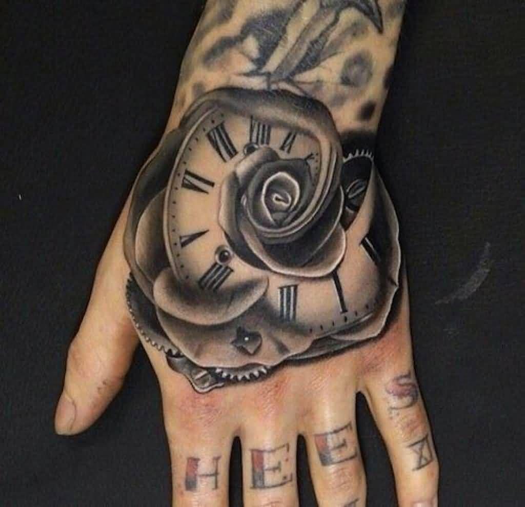 99bec3128 Grey Rose Flower Clock Tattoo On Left Hand | rosewatch | Hand ...