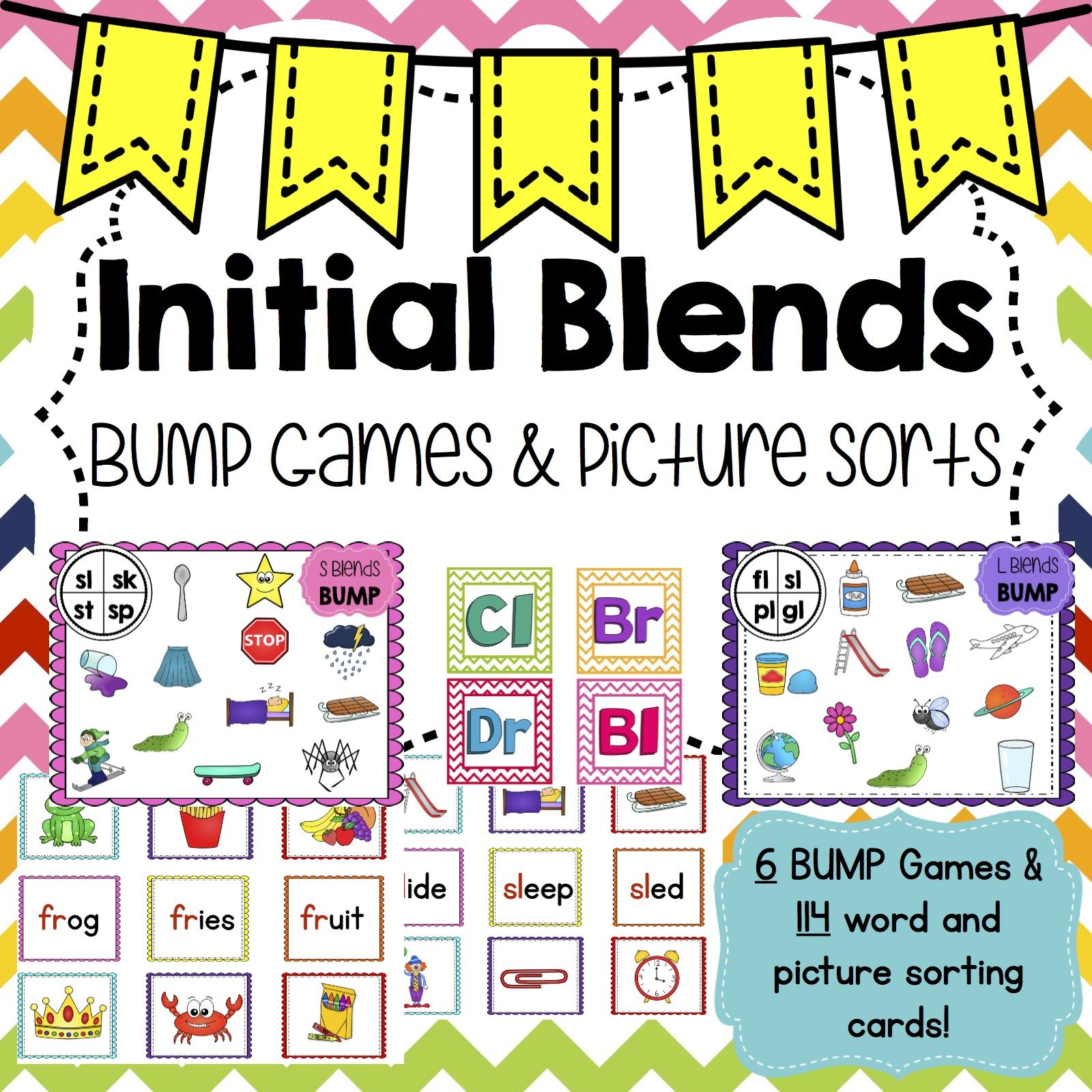 6 Bump Games And 114 Word And Picture Sort Cards