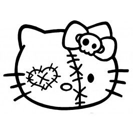 Zombie Hello Kitty Face Decal Hello Kitty Tattoos Hello Kitty Colouring Pages Hello Kitty Drawing