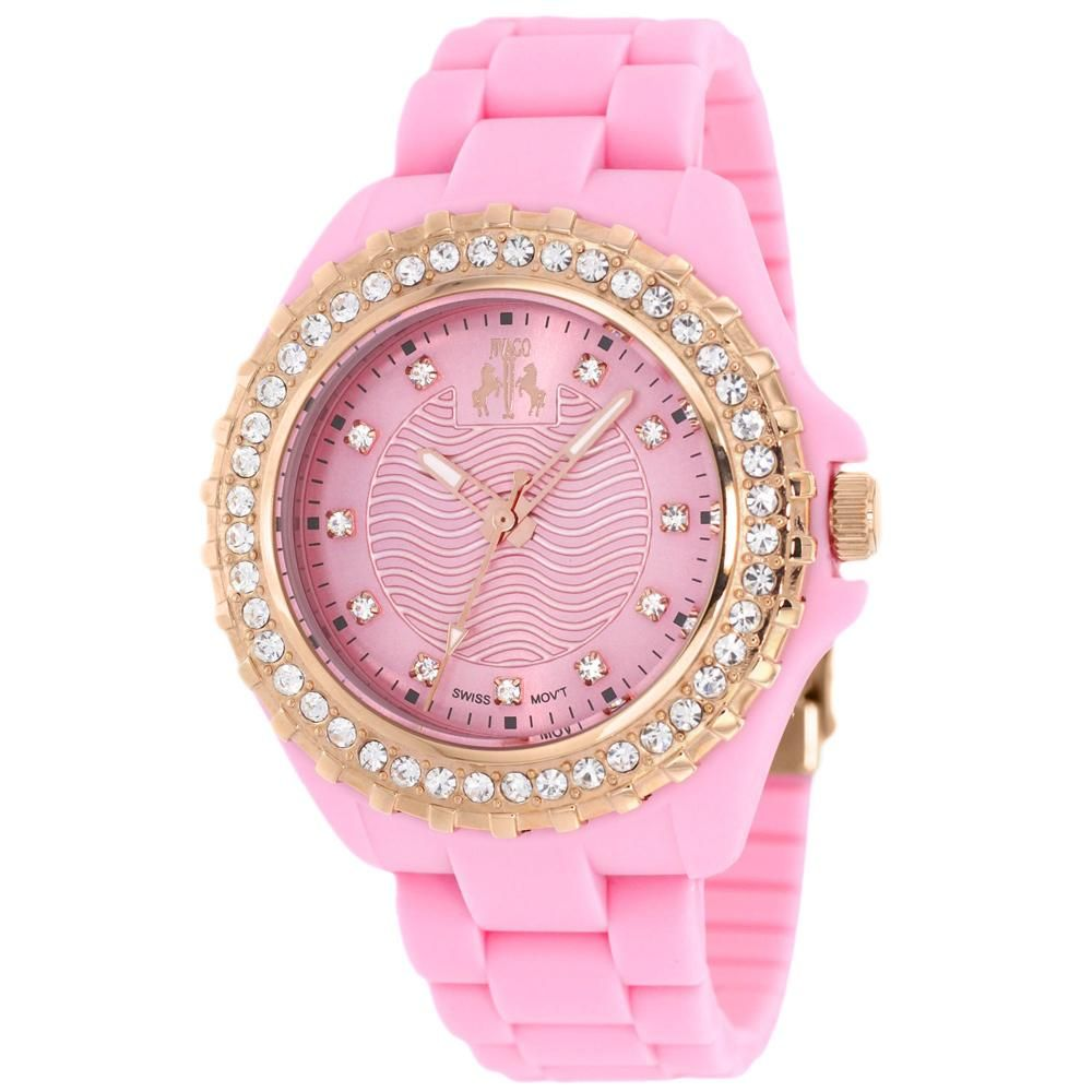 Stainless steel case, Silicone strap, Pink dial, Swiss Parts Quartz movement, Scratch resistant mineral, Water resistant up to 3 ATM - 30 meters - 100 feet
