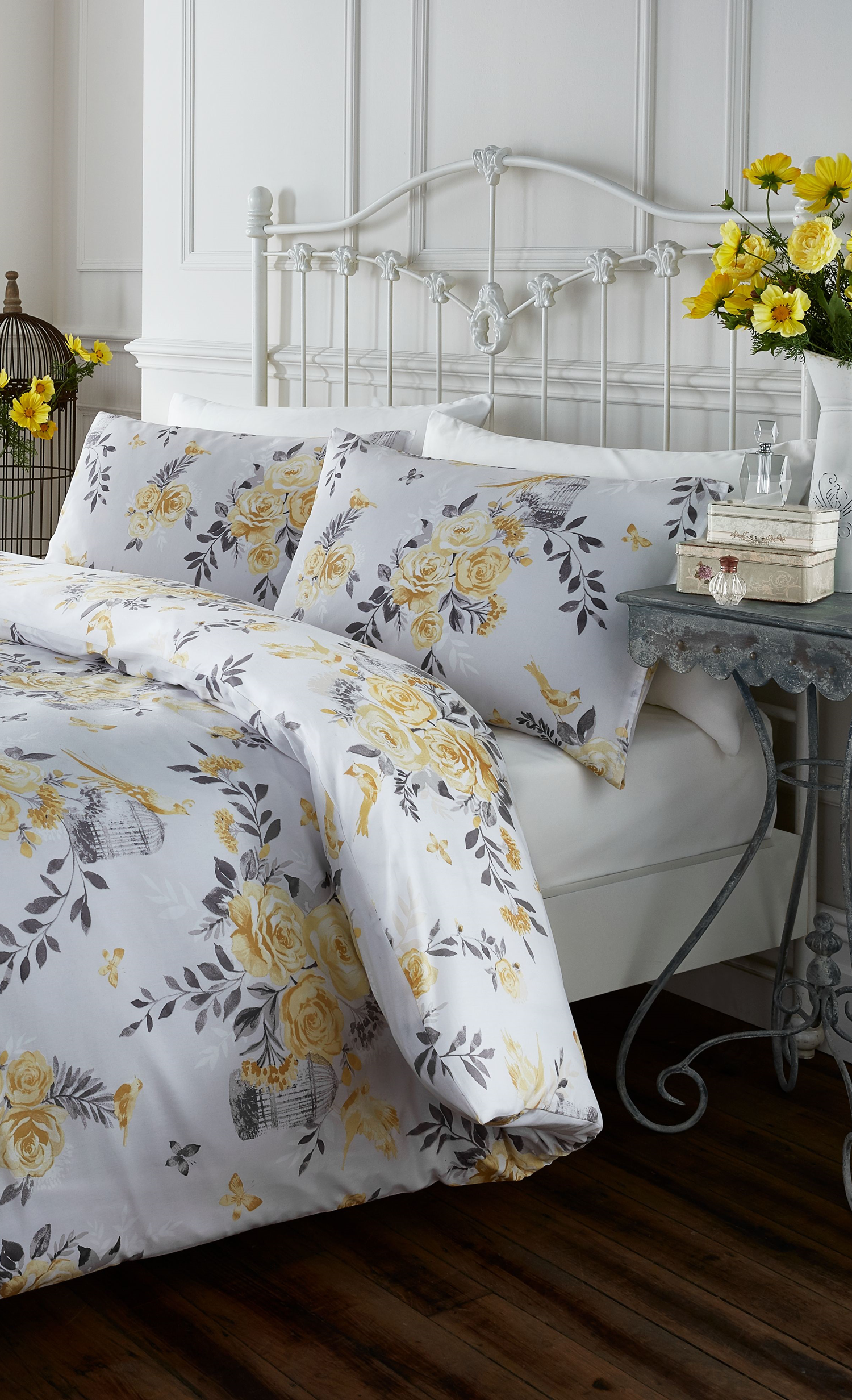 Yellow floral duvet set Comfortable bedroom, Bedroom styles