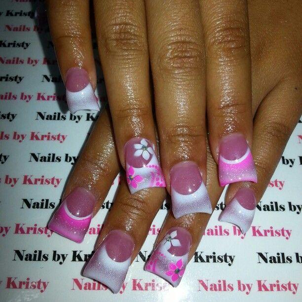 Super Curved Acrylic Nails White Airbrush Princess Flowers Rhinestones C Cut