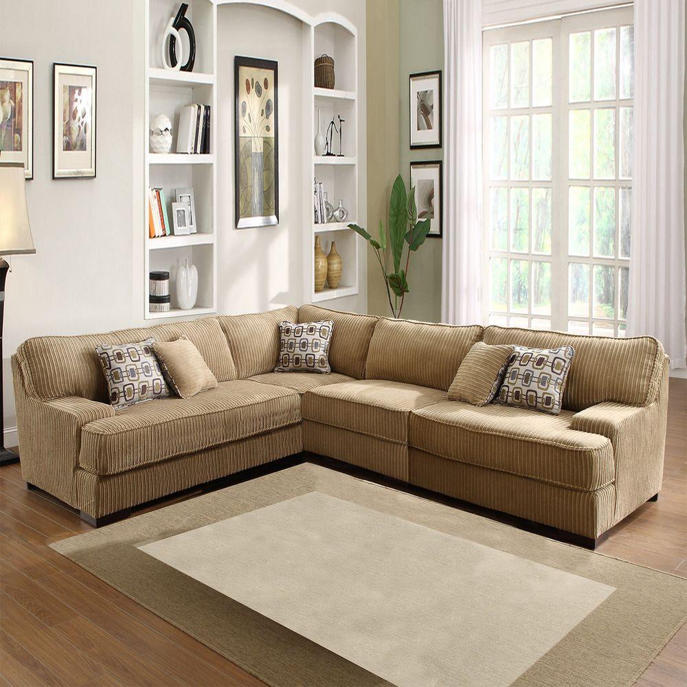 Tara Beige Chenille Sectional | Overstock.com. Contemporary Sectional SofasBasement  ...