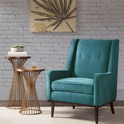 Best Mid Century Style Rich Turquoise Fabric Accent Chair 400 x 300