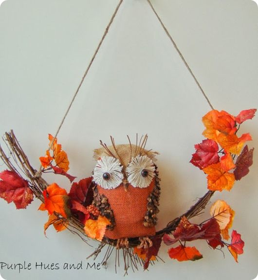 Swag wreath with DIY burlap owl with pine cone wings! {a World Market Knock Off}