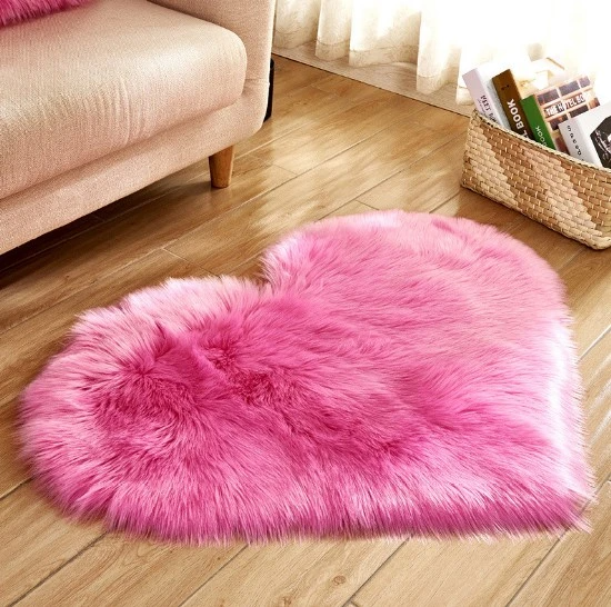 Photo of Heart-Shaped Fluffy Rug