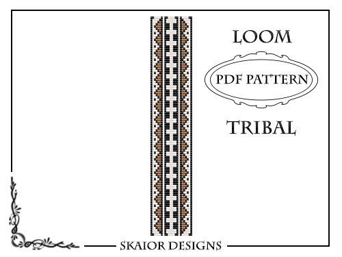 Beading Pattern Loom Bracelet Seed Beads Geometric Tribal