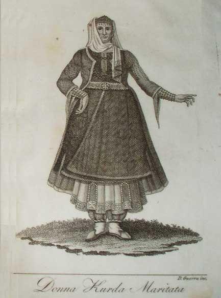 """""""Kurdish Woman."""" Image from the Book """"Storia della regione del Kurdistan"""" by Giuseppe Campanile, published in 1818."""