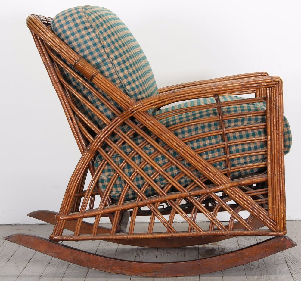Cramer Art Deco Stickley Old Hickory Reed Rattan Wicker Rocking