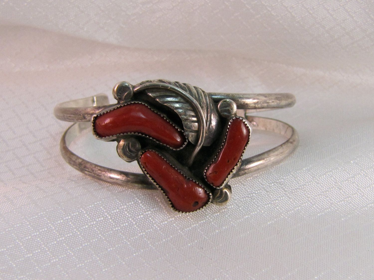Zuni Silversmith Francis Eustis Coral and Sterling Bracelet by newoldjewels on Etsy