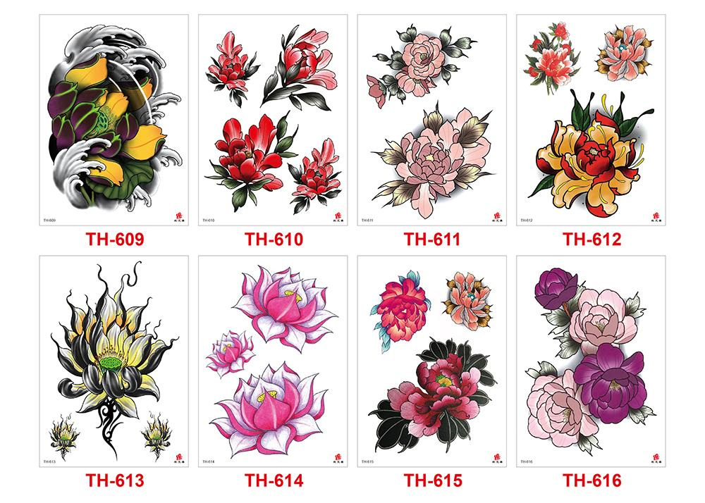 Small Flower Tattoo Colored Drawing Waterproof Temporary Designs Lotus Flower Peony Decal Arm Back Hands For Woman Girls Tattoo Sticker Gift Temporary Tattoos G Small Flower Tattoos Temporary Tattoo Sleeves Colorful