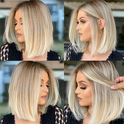 Details about Bob Short Ash Blonde Human Hair Wig Ombre Brazilian Full Lace Wig/Lace Front Wig