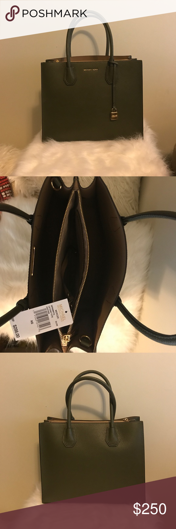 81aa11be7766 Michael Kors Large Convertible Mercer Olive Green Michael Kors Olive Green  Mercer Tote with gold hardware. Brand new with tags. Has never been worn  before.