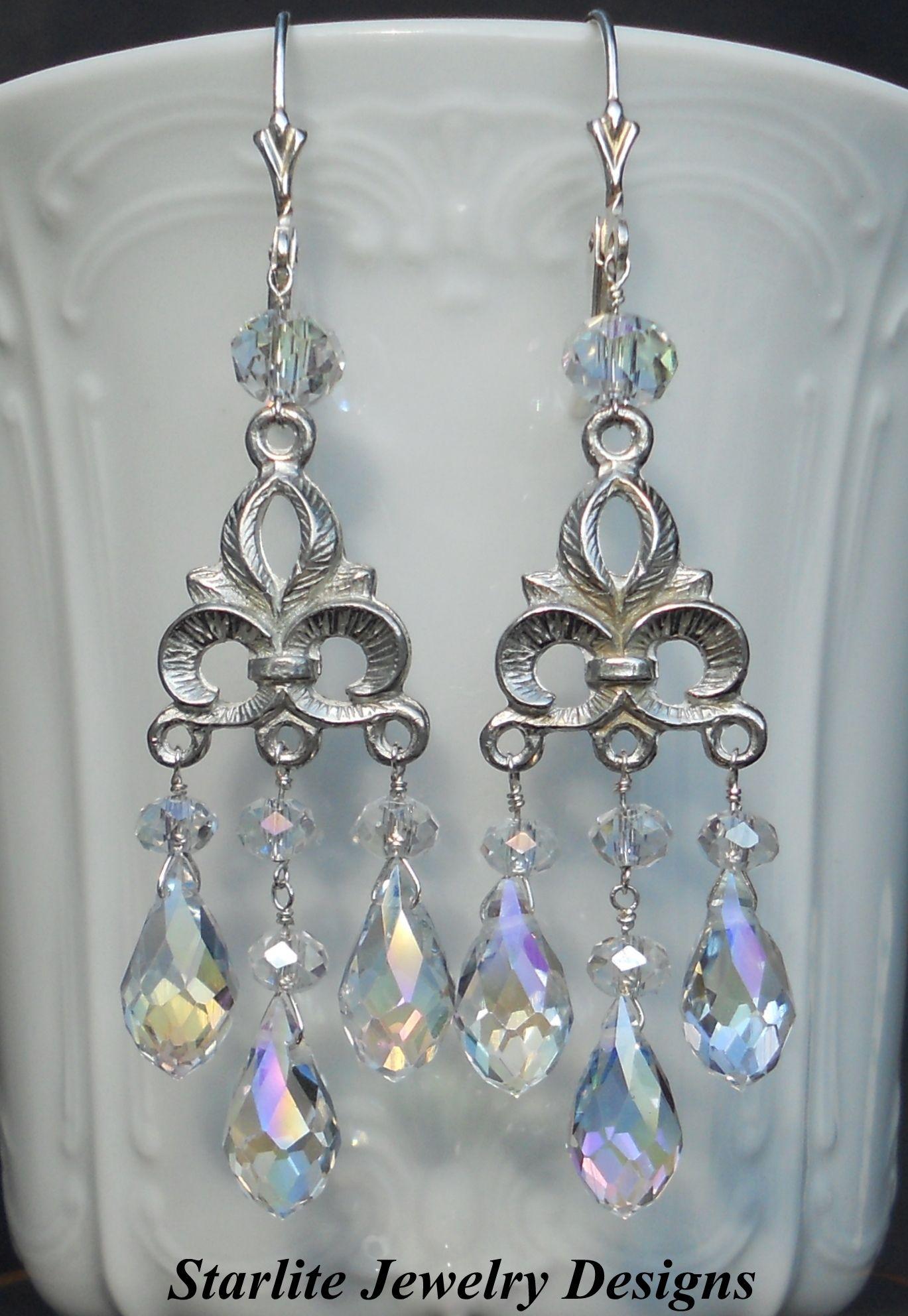 Vintage Fleur de Lis Rainbow Crystal Chandelier Earrings Perfect