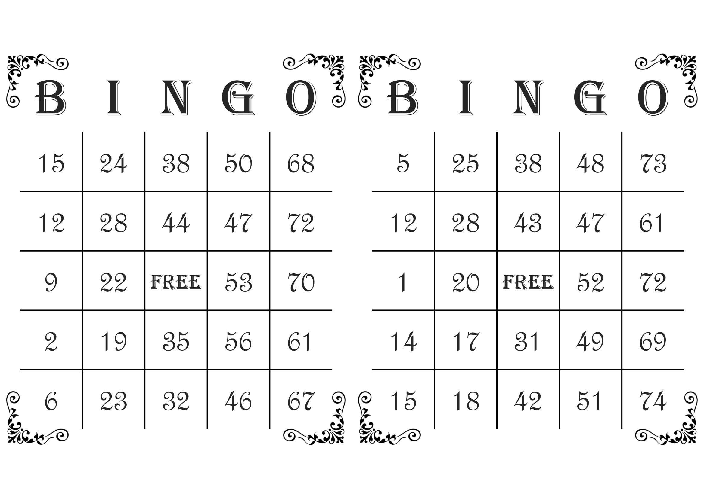 1000 Bingo Cards 2 Per Page Immediate Pdf Download Corner