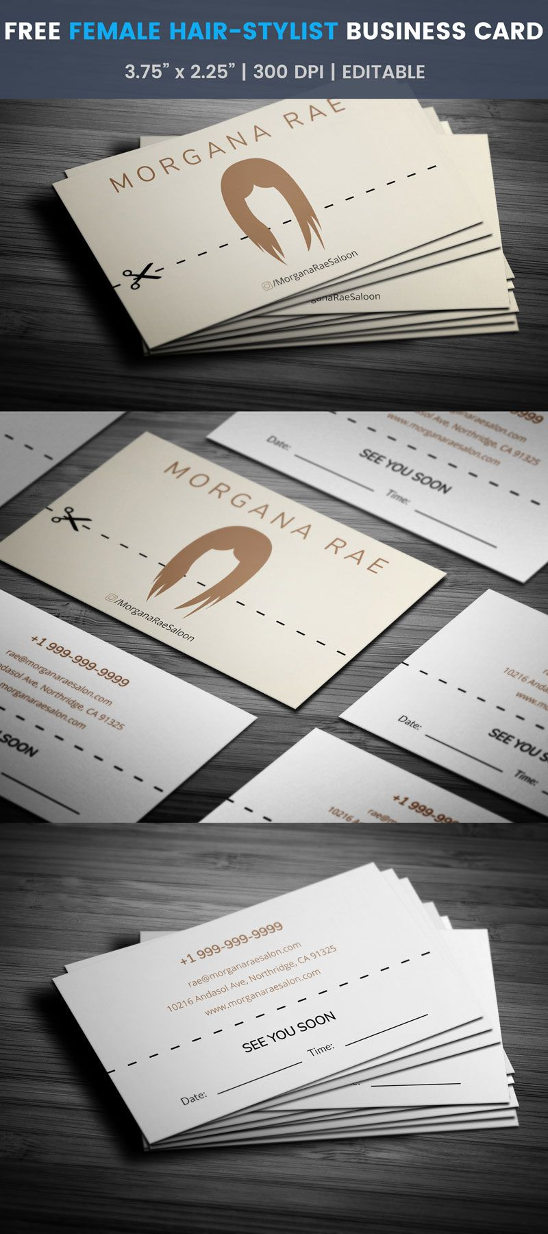 Free Female Hairstylist Card   Hairstylist business cards, Business ...