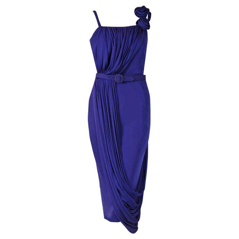 1950\'s Saks Fifth Avenue Purple Silk-Jersey Draped Grecian Cocktail ...