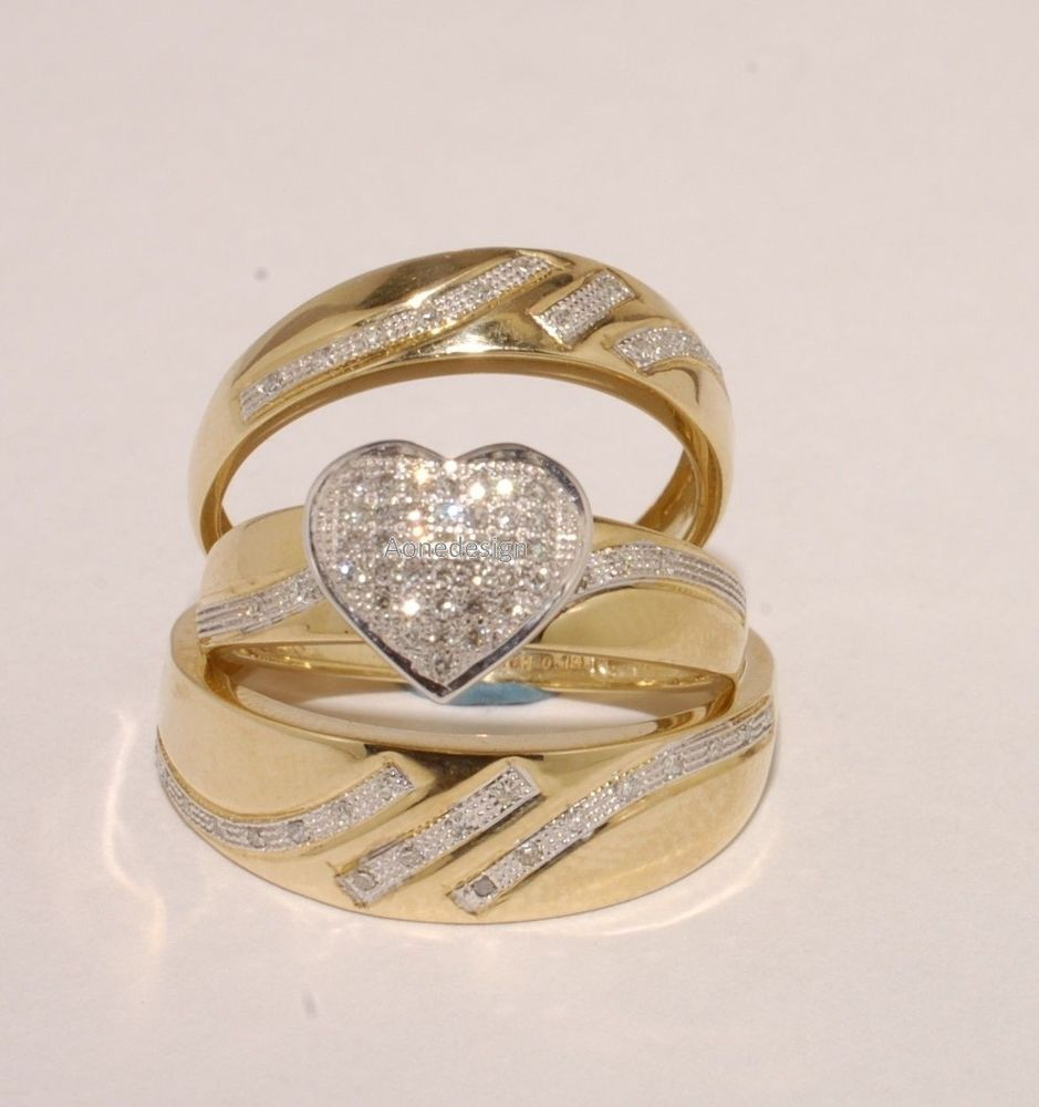 His Her Men Womens Diamond Ring Wedding Bands Solid 14K Yellow Gold Trio Set #aonedesigns #WeddingAnniversaryEngagementPartyGift