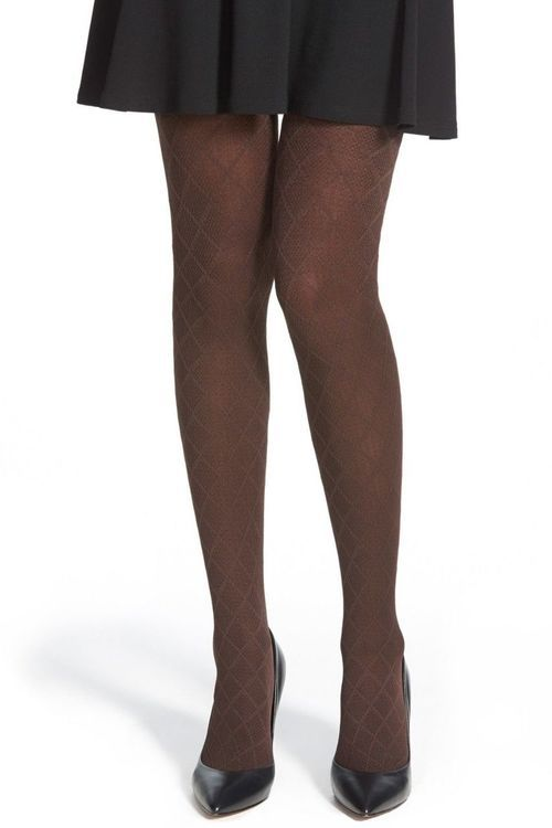 f5383071d14 HUE Textured Diamond Maze Control Top Tights Espresso Brown size M L ...