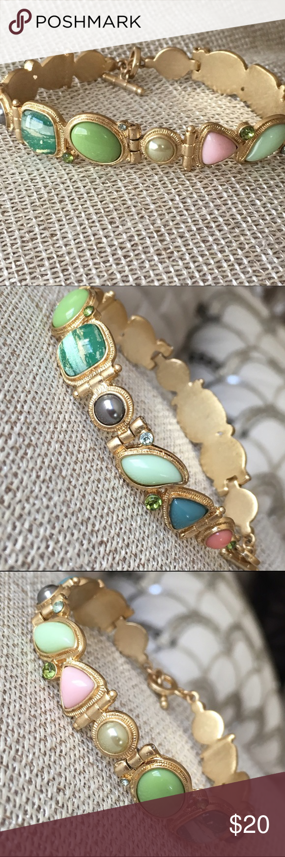 collection colored bracelet yellow gold stone multi estate