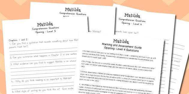 Matilda Levelled Comprehension Worksheets Australia Matilda