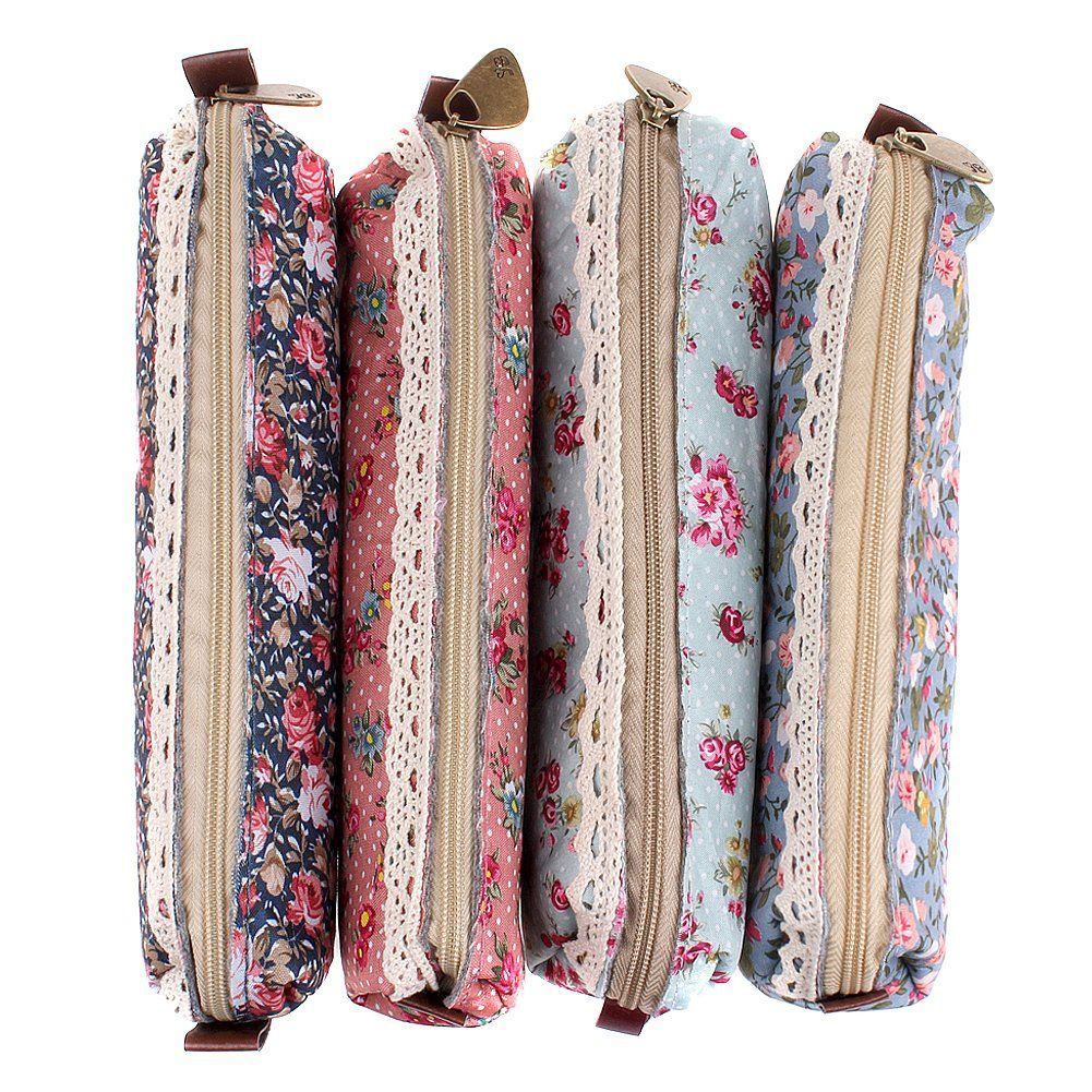 MERSUII Set Of 4 Cute Sweety Floral Pen Pencil Bag Case Holder Cover Pouch  Bag,